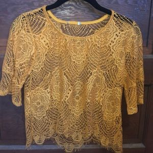Wet Seal Womens Marigold Lace See-through Blouse